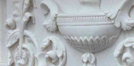 Detail of marble fireplace